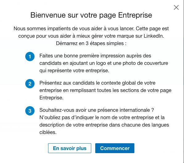 Bienvenue sur votre page entreprise Linkedin
