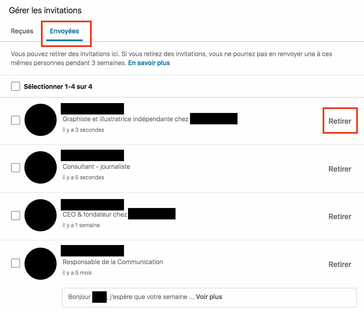 La méthode pour annuler une invitation sur LinkedIn