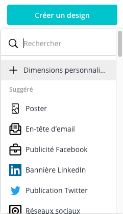Créez un design aux dimensions personnalisées sur Canva pour commencer la création de votre bannière LinkedIn